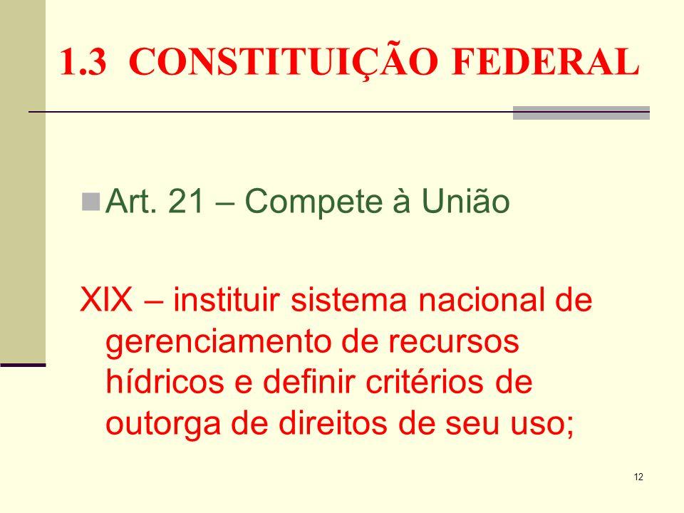 12 1.3 CONSTITUIÇÃO FEDERAL Art. 21 – Compete à União XIX – instituir sistema nacional de gerenciamento de recursos hídricos e definir critérios de ou