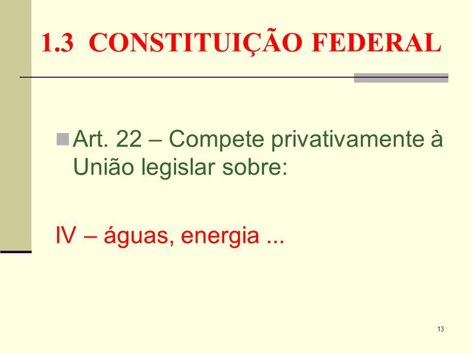 13 1.3 CONSTITUIÇÃO FEDERAL Art. 22 – Compete privativamente à União legislar sobre: IV – águas, energia...