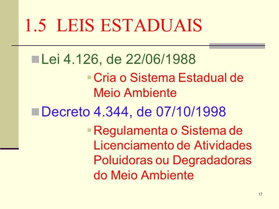 17 1.5 LEIS ESTADUAIS Lei 4.126, de 22/06/1988 Cria o Sistema Estadual de Meio Ambiente Decreto 4.344, de 07/10/1998 Regulamenta o Sistema de Licencia