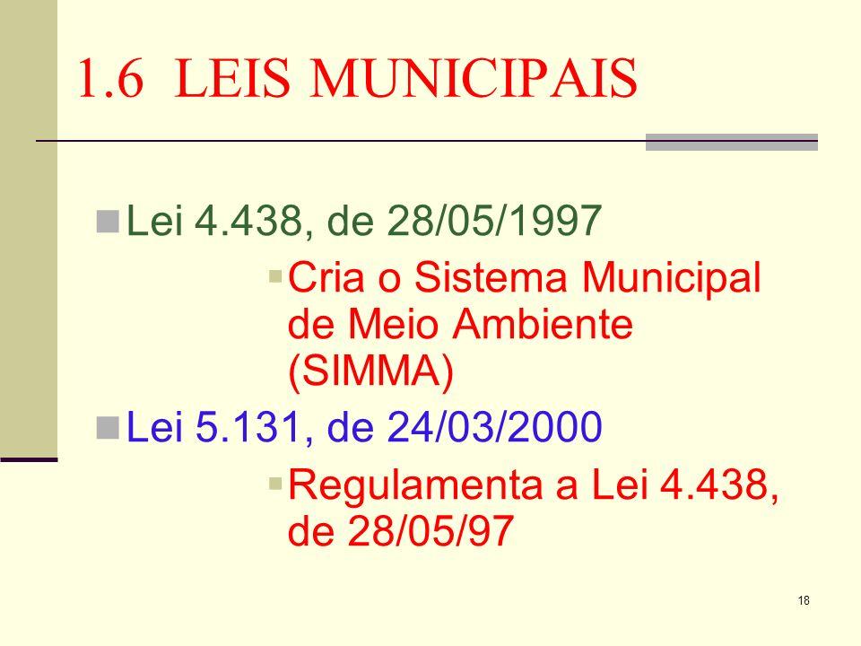 18 1.6 LEIS MUNICIPAIS Lei 4.438, de 28/05/1997 Cria o Sistema Municipal de Meio Ambiente (SIMMA) Lei 5.131, de 24/03/2000 Regulamenta a Lei 4.438, de