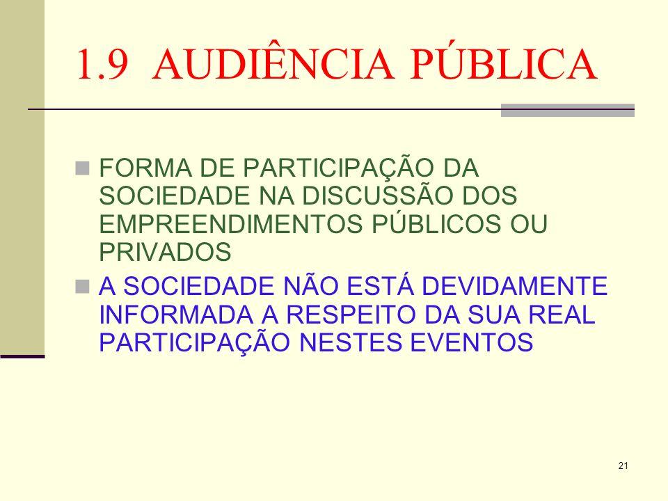 21 1.9 AUDIÊNCIA PÚBLICA FORMA DE PARTICIPAÇÃO DA SOCIEDADE NA DISCUSSÃO DOS EMPREENDIMENTOS PÚBLICOS OU PRIVADOS A SOCIEDADE NÃO ESTÁ DEVIDAMENTE INF