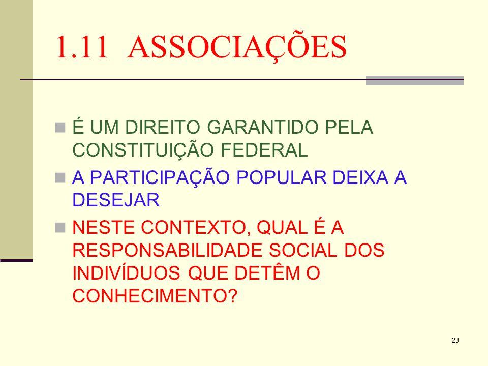 23 1.11 ASSOCIAÇÕES É UM DIREITO GARANTIDO PELA CONSTITUIÇÃO FEDERAL A PARTICIPAÇÃO POPULAR DEIXA A DESEJAR NESTE CONTEXTO, QUAL É A RESPONSABILIDADE