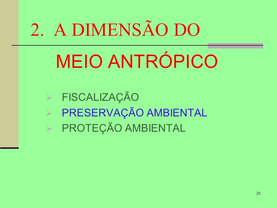 25 2. A DIMENSÃO DO MEIO ANTRÓPICO FISCALIZAÇÃO PRESERVAÇÃO AMBIENTAL PROTEÇÃO AMBIENTAL