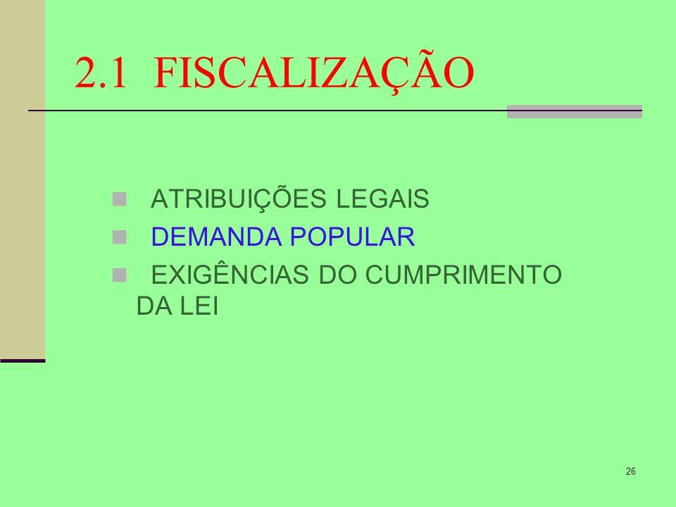 26 2.1 FISCALIZAÇÃO ATRIBUIÇÕES LEGAIS DEMANDA POPULAR EXIGÊNCIAS DO CUMPRIMENTO DA LEI