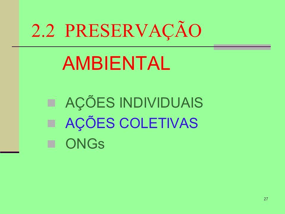 27 2.2 PRESERVAÇÃO AMBIENTAL AÇÕES INDIVIDUAIS AÇÕES COLETIVAS ONGs