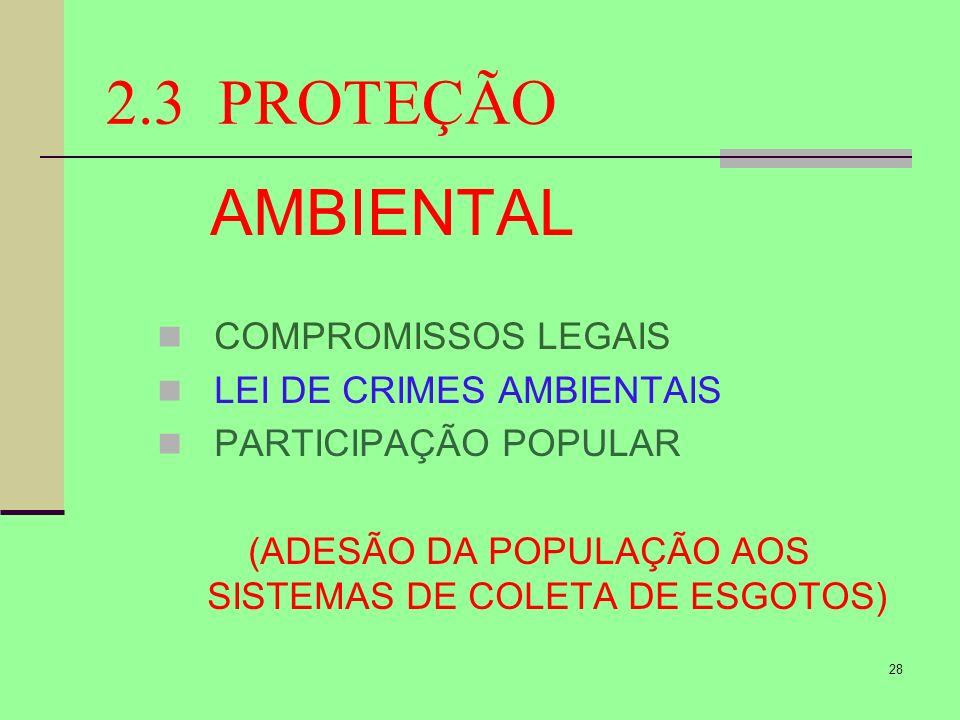 28 2.3 PROTEÇÃO AMBIENTAL COMPROMISSOS LEGAIS LEI DE CRIMES AMBIENTAIS PARTICIPAÇÃO POPULAR (ADESÃO DA POPULAÇÃO AOS SISTEMAS DE COLETA DE ESGOTOS)