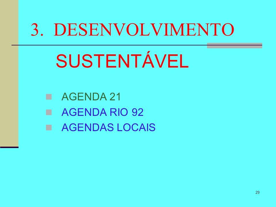 29 3. DESENVOLVIMENTO SUSTENTÁVEL AGENDA 21 AGENDA RIO 92 AGENDAS LOCAIS