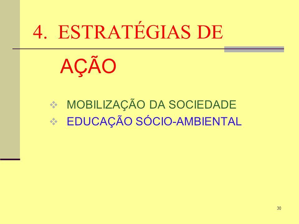 30 4. ESTRATÉGIAS DE AÇÃO MOBILIZAÇÃO DA SOCIEDADE EDUCAÇÃO SÓCIO-AMBIENTAL