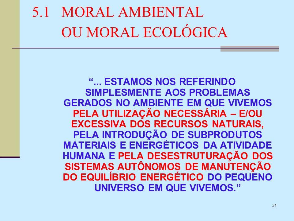 34 5.1MORAL AMBIENTAL OU MORAL ECOLÓGICA... ESTAMOS NOS REFERINDO SIMPLESMENTE AOS PROBLEMAS GERADOS NO AMBIENTE EM QUE VIVEMOS PELA UTILIZAÇÃO NECESS