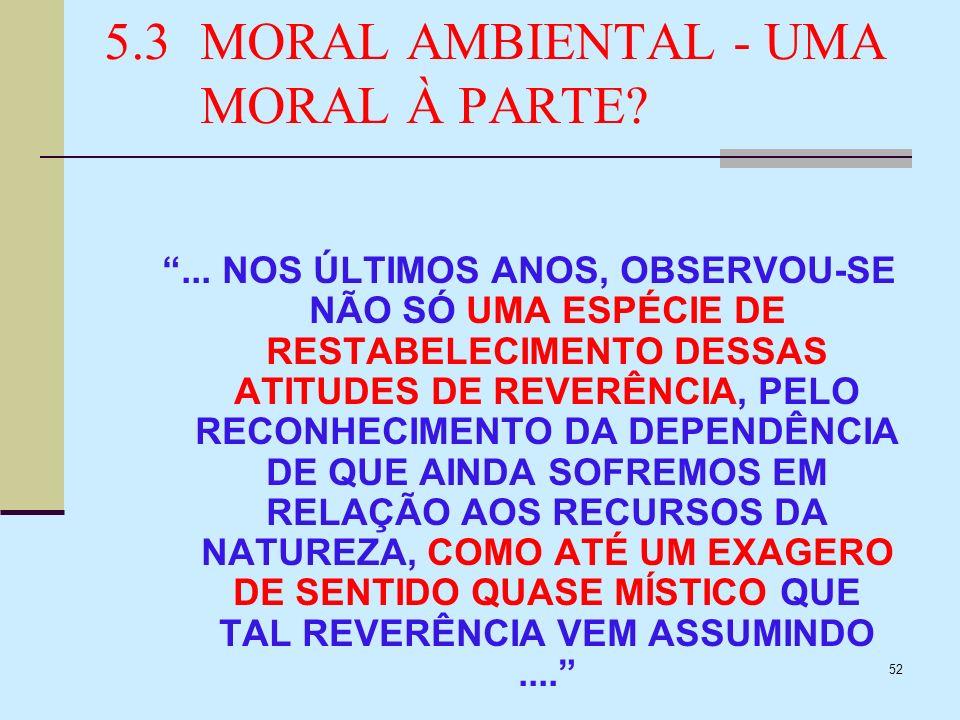 52 5.3MORAL AMBIENTAL - UMA MORAL À PARTE?... NOS ÚLTIMOS ANOS, OBSERVOU-SE NÃO SÓ UMA ESPÉCIE DE RESTABELECIMENTO DESSAS ATITUDES DE REVERÊNCIA, PELO