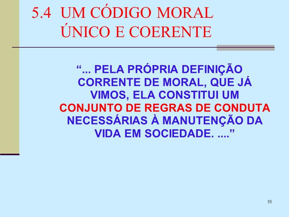 55 5.4UM CÓDIGO MORAL ÚNICO E COERENTE... PELA PRÓPRIA DEFINIÇÃO CORRENTE DE MORAL, QUE JÁ VIMOS, ELA CONSTITUI UM CONJUNTO DE REGRAS DE CONDUTA NECES
