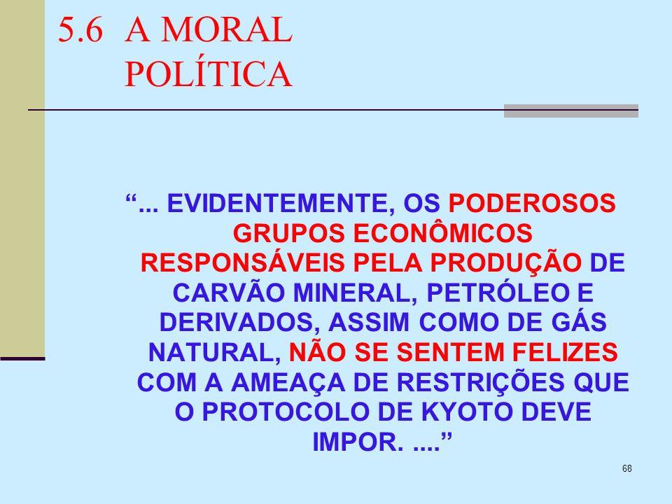 68 5.6A MORAL POLÍTICA... EVIDENTEMENTE, OS PODEROSOS GRUPOS ECONÔMICOS RESPONSÁVEIS PELA PRODUÇÃO DE CARVÃO MINERAL, PETRÓLEO E DERIVADOS, ASSIM COMO
