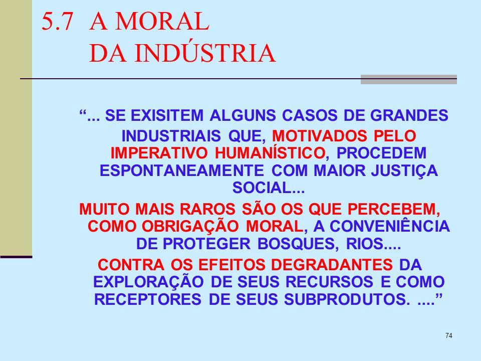 74 5.7A MORAL DA INDÚSTRIA... SE EXISITEM ALGUNS CASOS DE GRANDES INDUSTRIAIS QUE, MOTIVADOS PELO IMPERATIVO HUMANÍSTICO, PROCEDEM ESPONTANEAMENTE COM