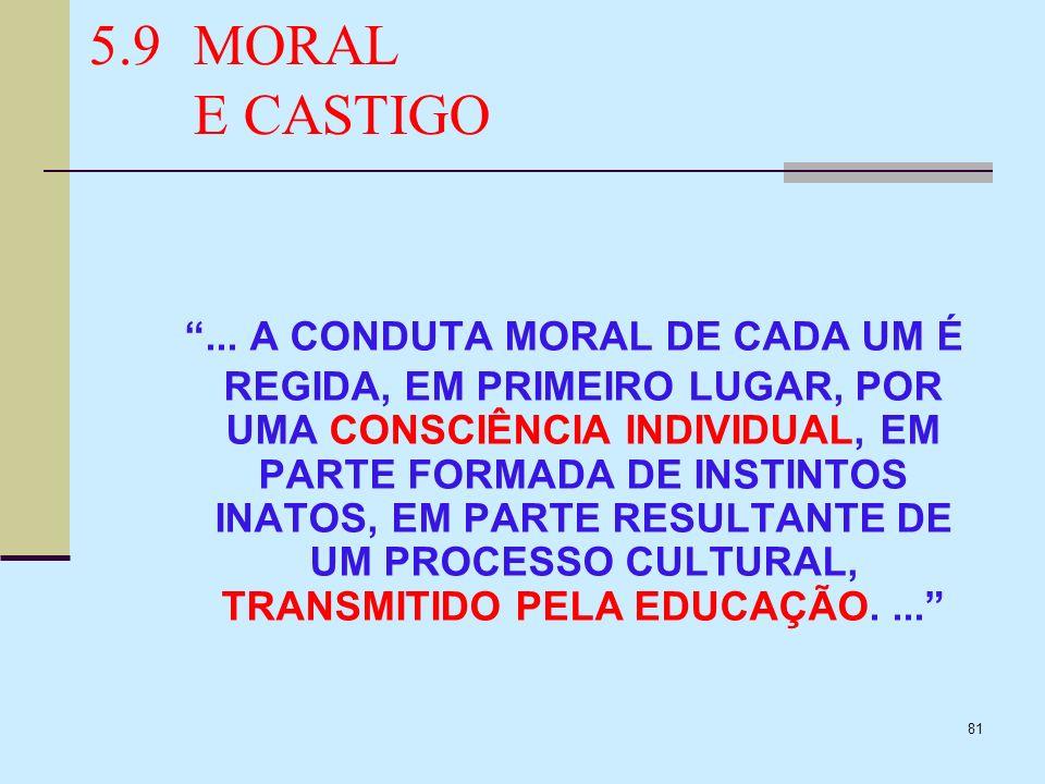 81 5.9MORAL E CASTIGO... A CONDUTA MORAL DE CADA UM É REGIDA, EM PRIMEIRO LUGAR, POR UMA CONSCIÊNCIA INDIVIDUAL, EM PARTE FORMADA DE INSTINTOS INATOS,