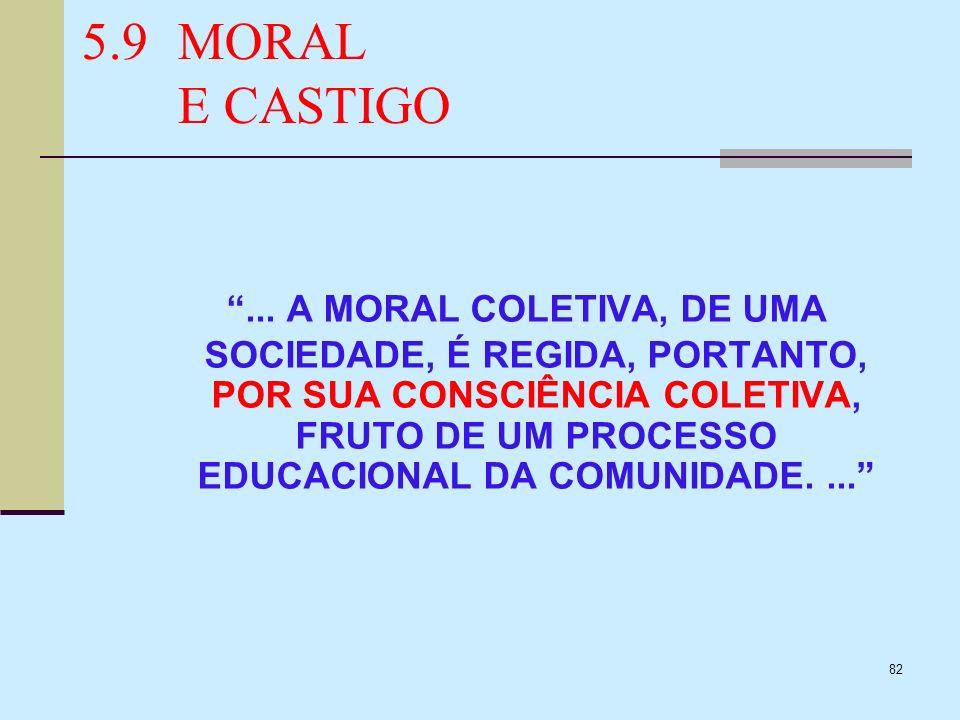 82 5.9MORAL E CASTIGO... A MORAL COLETIVA, DE UMA SOCIEDADE, É REGIDA, PORTANTO, POR SUA CONSCIÊNCIA COLETIVA, FRUTO DE UM PROCESSO EDUCACIONAL DA COM