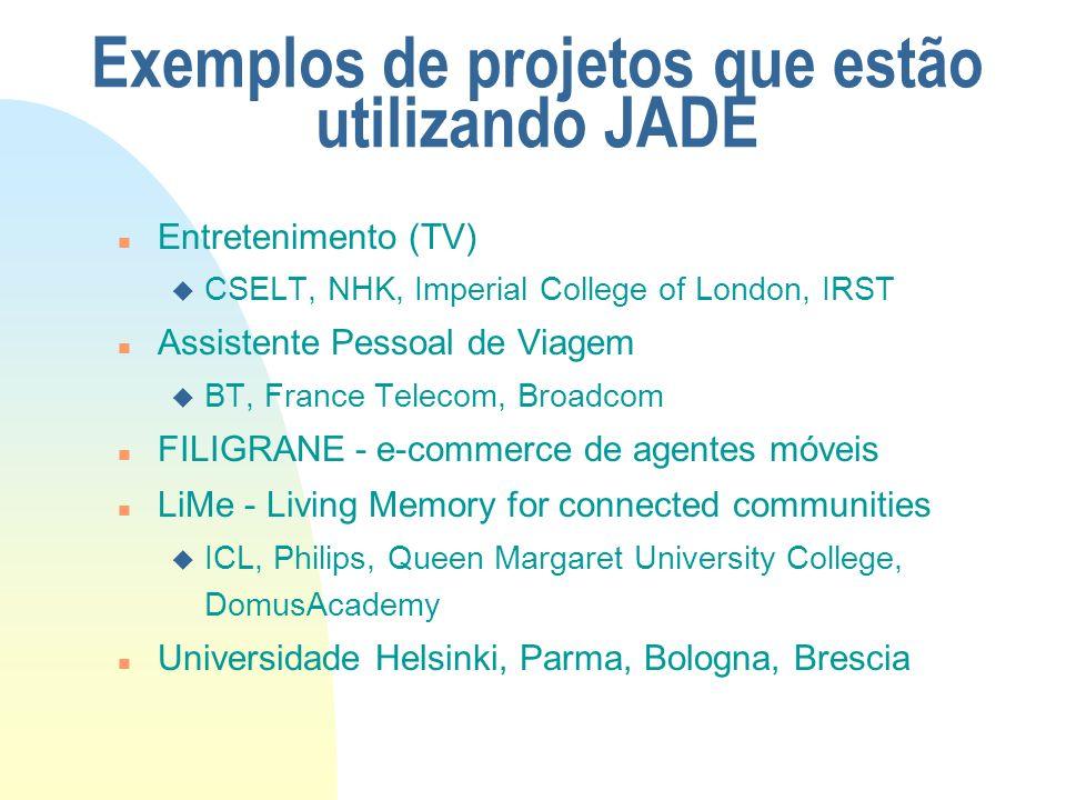 Exemplos de projetos que estão utilizando JADE n Entretenimento (TV) u CSELT, NHK, Imperial College of London, IRST n Assistente Pessoal de Viagem u B