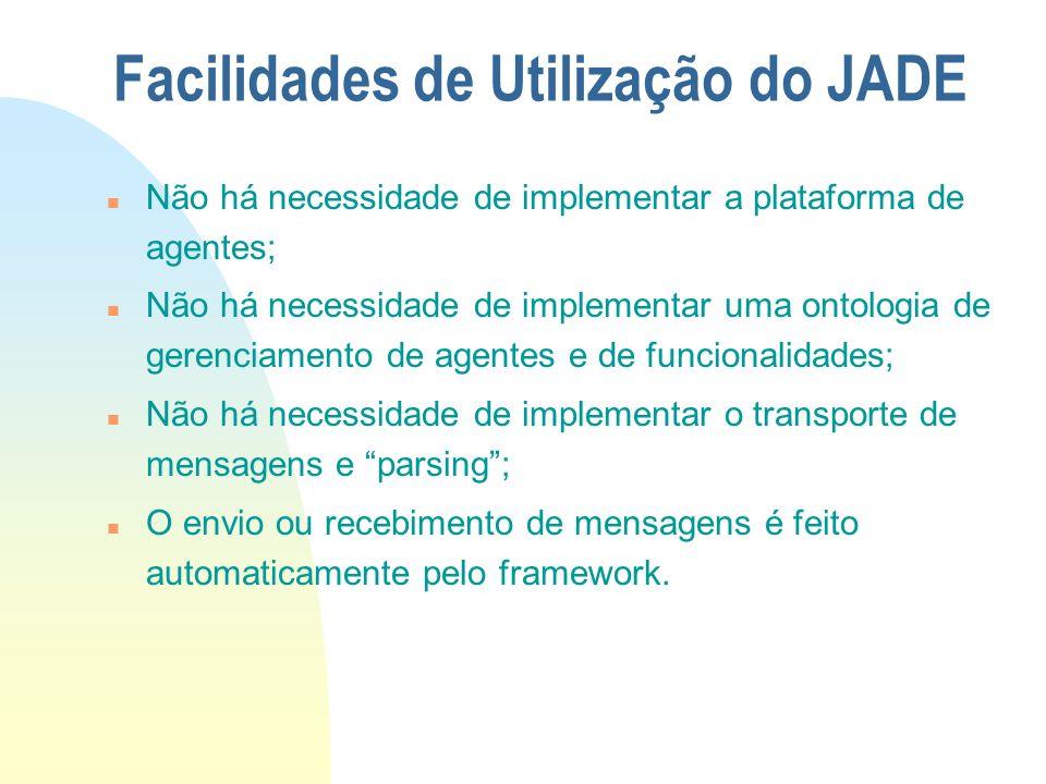 Facilidades de Utilização do JADE n Não há necessidade de implementar a plataforma de agentes; n Não há necessidade de implementar uma ontologia de ge
