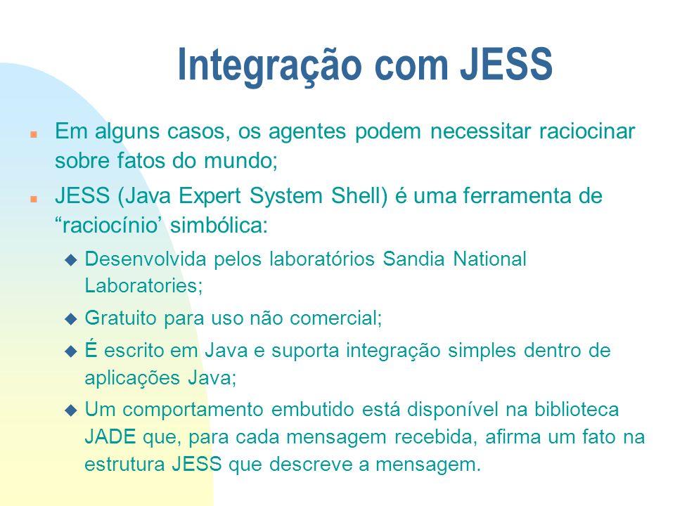Integração com JESS n Em alguns casos, os agentes podem necessitar raciocinar sobre fatos do mundo; n JESS (Java Expert System Shell) é uma ferramenta
