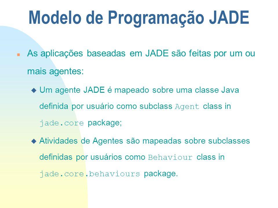 n As aplicações baseadas em JADE são feitas por um ou mais agentes: Um agente JADE é mapeado sobre uma classe Java definida por usuário como subclass