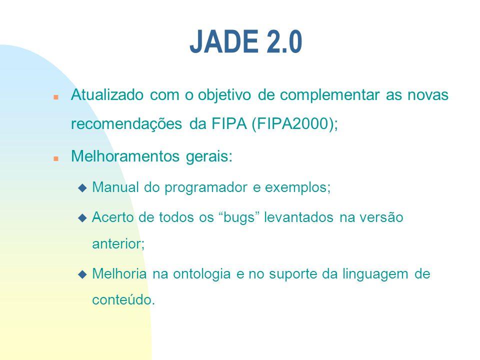 JADE 2.0 n Atualizado com o objetivo de complementar as novas recomendações da FIPA (FIPA2000); n Melhoramentos gerais: u Manual do programador e exem