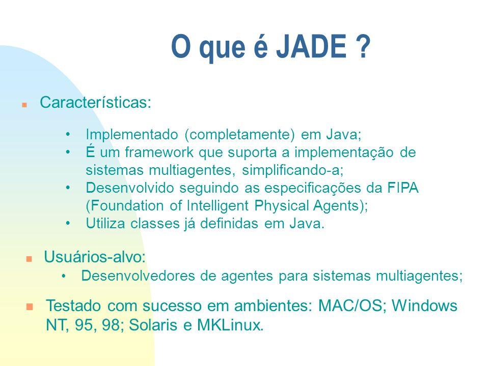 O que é JADE ? n Características: Implementado (completamente) em Java; É um framework que suporta a implementação de sistemas multiagentes, simplific