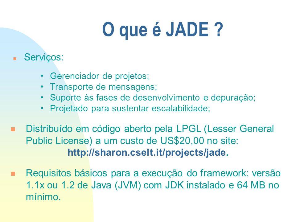 O que é JADE ? n Serviços: Distribuído em código aberto pela LPGL (Lesser General Public License) a um custo de US$20,00 no site: http://sharon.cselt.