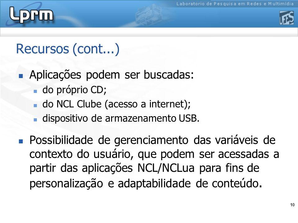 10 Recursos (cont...) Aplicações podem ser buscadas: do próprio CD; do NCL Clube (acesso a internet); dispositivo de armazenamento USB. Possibilidade