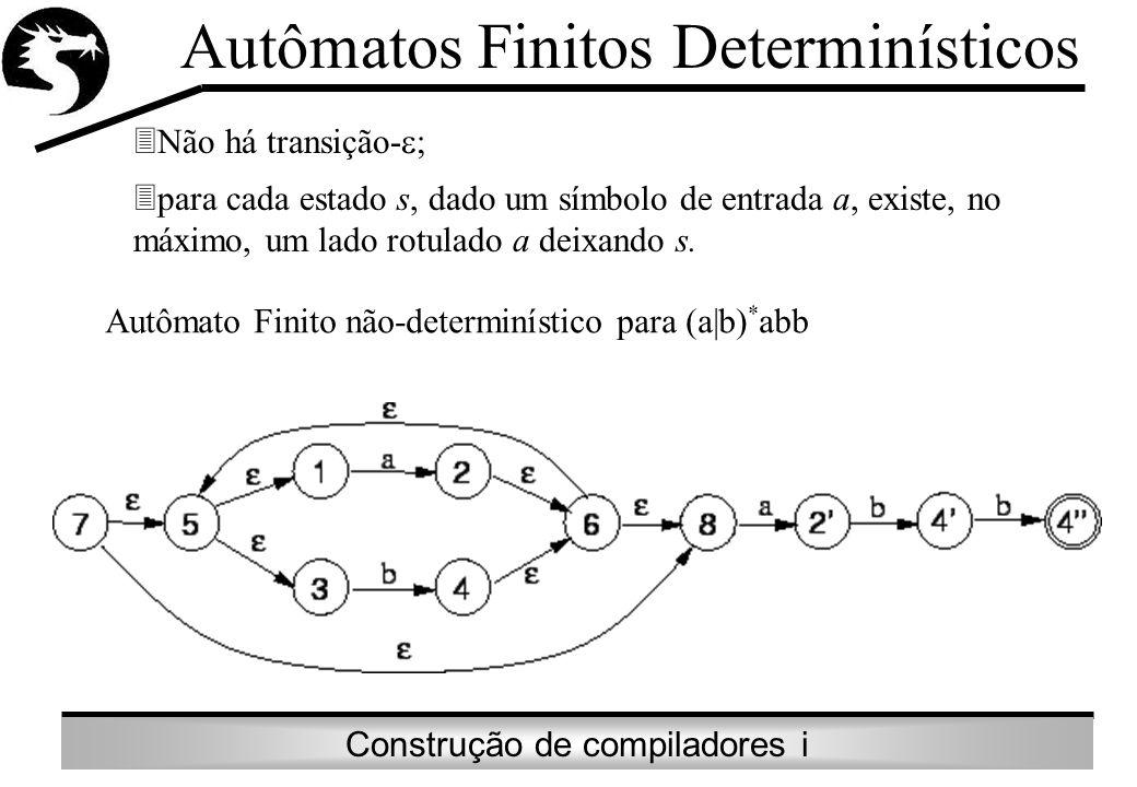 Construção de compiladores i Autômatos Finitos Determinísticos Não há transição- ; para cada estado s, dado um símbolo de entrada a, existe, no máximo
