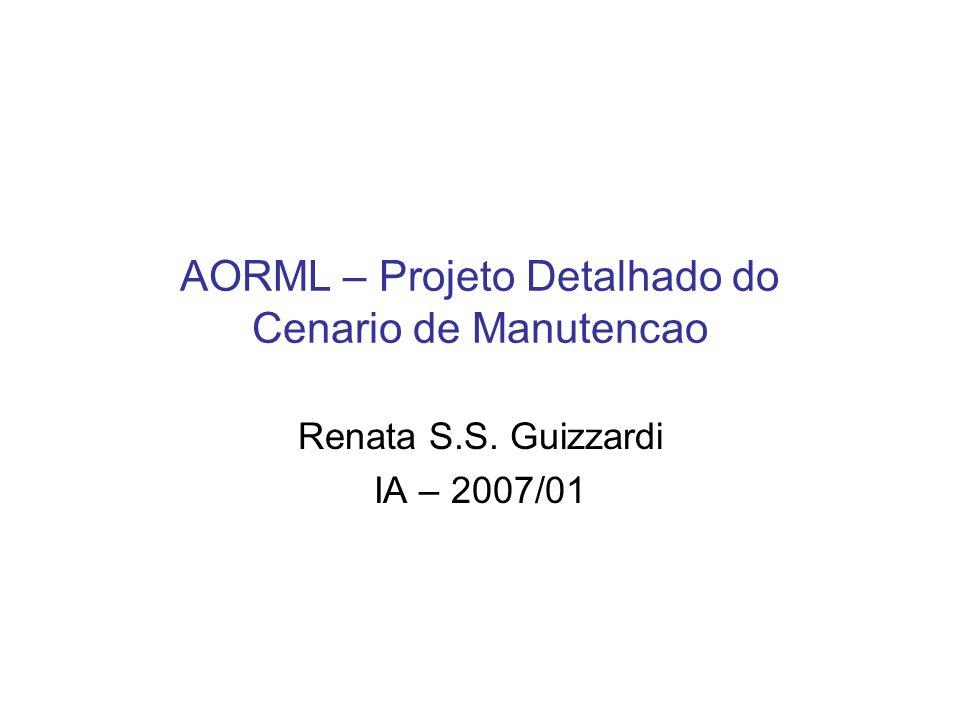 Projeto Detalhado com AORML Processo iterativo composto de tres passos principais: Passo 1: transformacao de modelos vindos da atividade de Projeto Arquitetural (Tropos) em modelos de Projeto Detalhado (AORML).