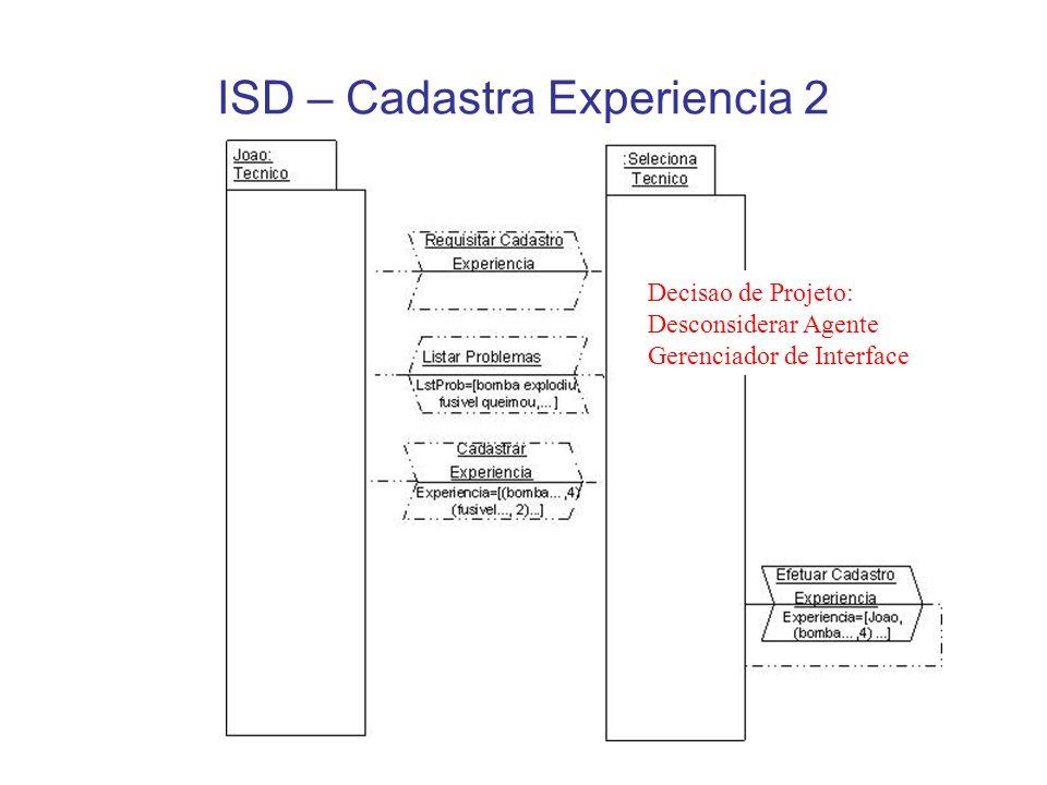 ISD – Cadastra Experiencia 2 Decisao de Projeto: Desconsiderar Agente Gerenciador de Interface