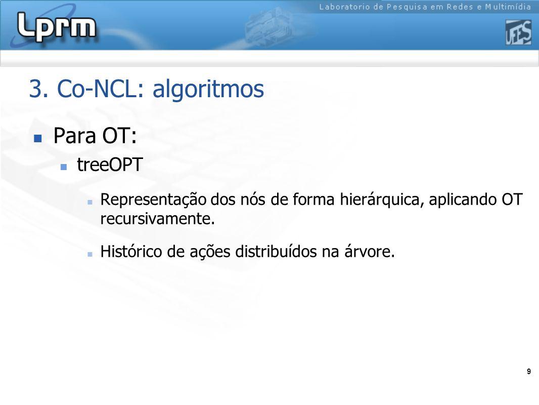 9 3. Co-NCL: algoritmos Para OT: treeOPT Representação dos nós de forma hierárquica, aplicando OT recursivamente. Histórico de ações distribuídos na á