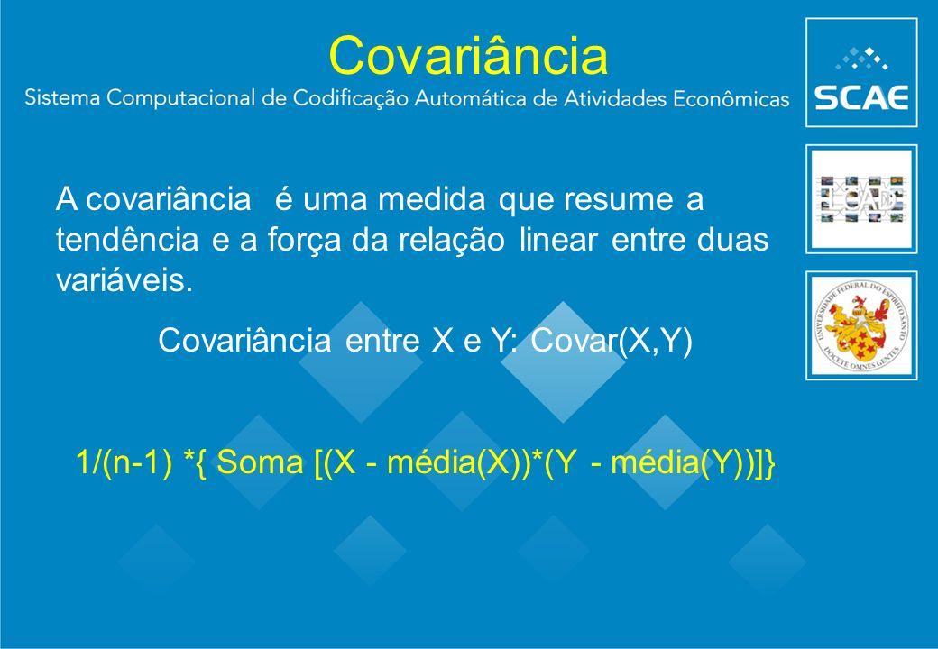 Covariância A covariância é uma medida que resume a tendência e a força da relação linear entre duas variáveis. Covariância entre X e Y: Covar(X,Y) 1/