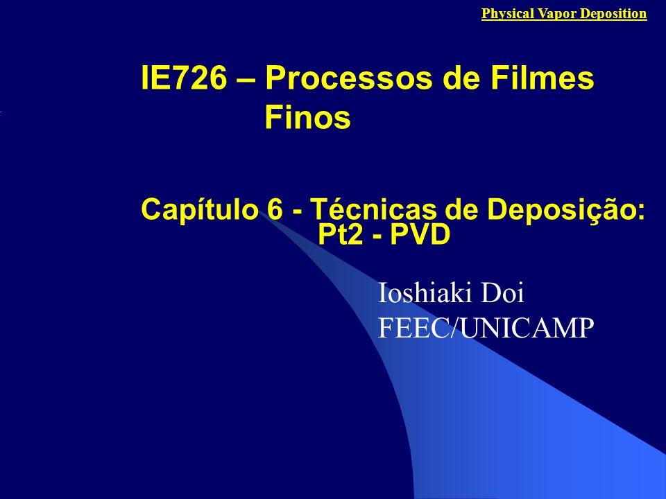 Capítulo 6 - Técnicas de Deposição: Pt2 - PVD Ioshiaki Doi FEEC/UNICAMP IE726 – Processos de Filmes Finos Physical Vapor Deposition