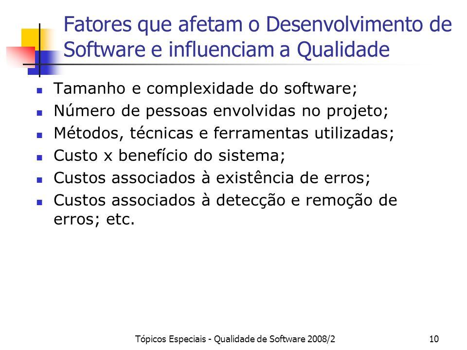 Tópicos Especiais - Qualidade de Software 2008/210 Fatores que afetam o Desenvolvimento de Software e influenciam a Qualidade Tamanho e complexidade d