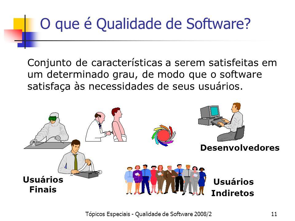 Tópicos Especiais - Qualidade de Software 2008/211 O que é Qualidade de Software? Conjunto de características a serem satisfeitas em um determinado gr