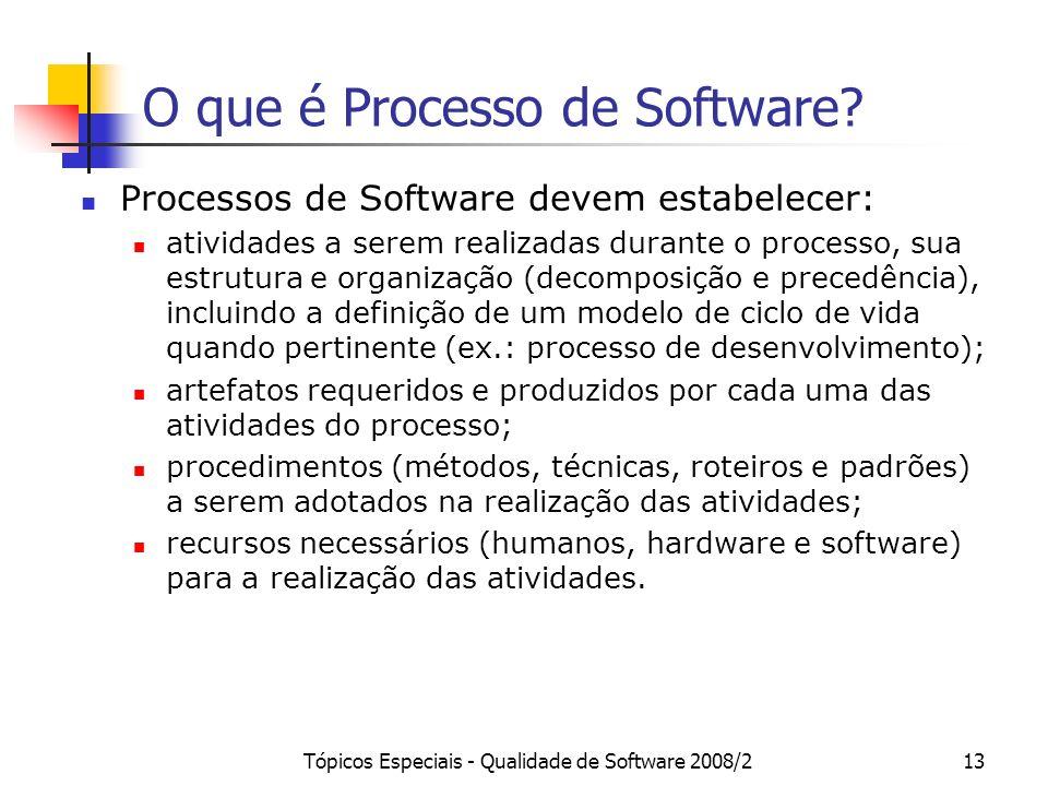 Tópicos Especiais - Qualidade de Software 2008/213 O que é Processo de Software? Processos de Software devem estabelecer: atividades a serem realizada