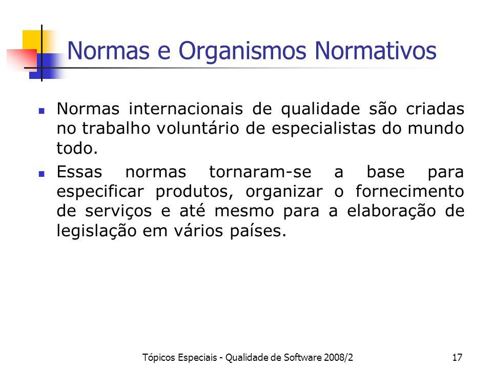 Tópicos Especiais - Qualidade de Software 2008/217 Normas e Organismos Normativos Normas internacionais de qualidade são criadas no trabalho voluntári