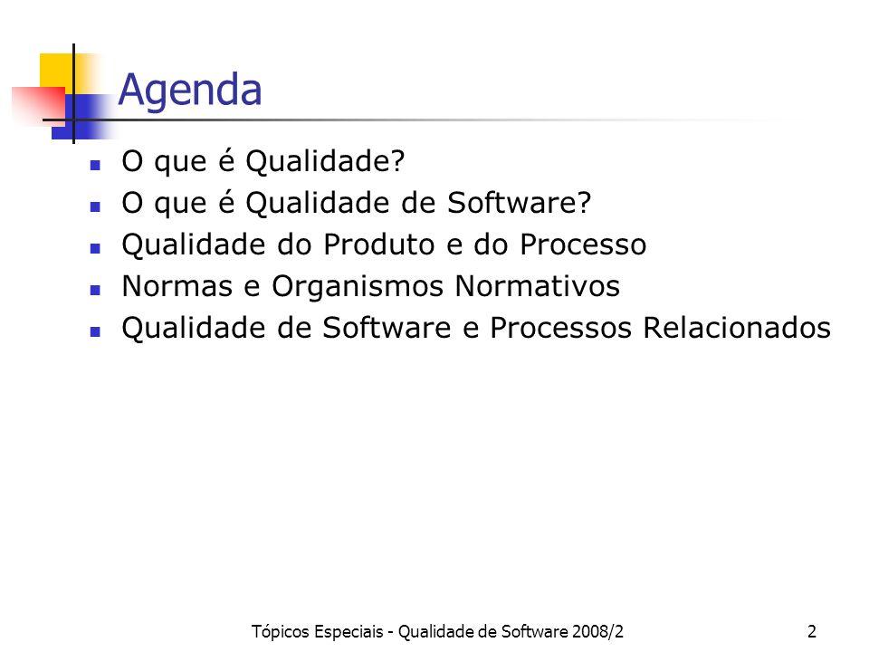 Tópicos Especiais - Qualidade de Software 2008/22 Agenda O que é Qualidade? O que é Qualidade de Software? Qualidade do Produto e do Processo Normas e