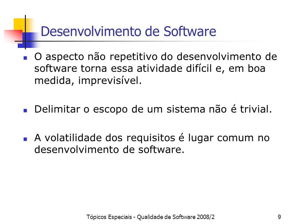 Tópicos Especiais - Qualidade de Software 2008/29 Desenvolvimento de Software O aspecto não repetitivo do desenvolvimento de software torna essa ativi