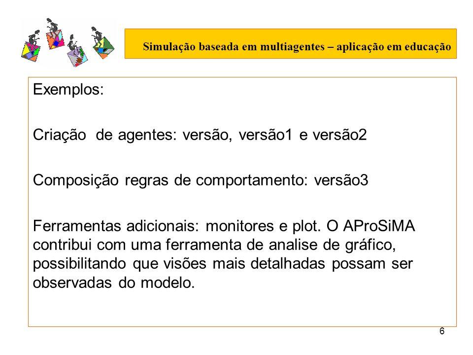 6 Simulação baseada em multiagentes – aplicação em educação Exemplos: Criação de agentes: versão, versão1 e versão2 Composição regras de comportamento