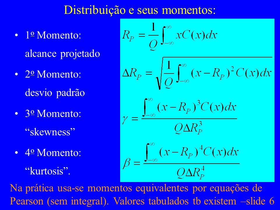 Distribuição e seus momentos: 1 o Momento: alcance projetado 2 o Momento: desvio padrão 3 o Momento: skewness 4 o Momento: kurtosis. Na prática usa-se