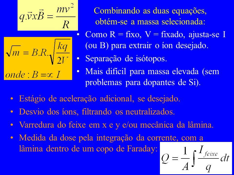 Combinando as duas equações, obtém-se a massa selecionada: Como R = fixo, V = fixado, ajusta-se I (ou B) para extrair o íon desejado. Separação de isó