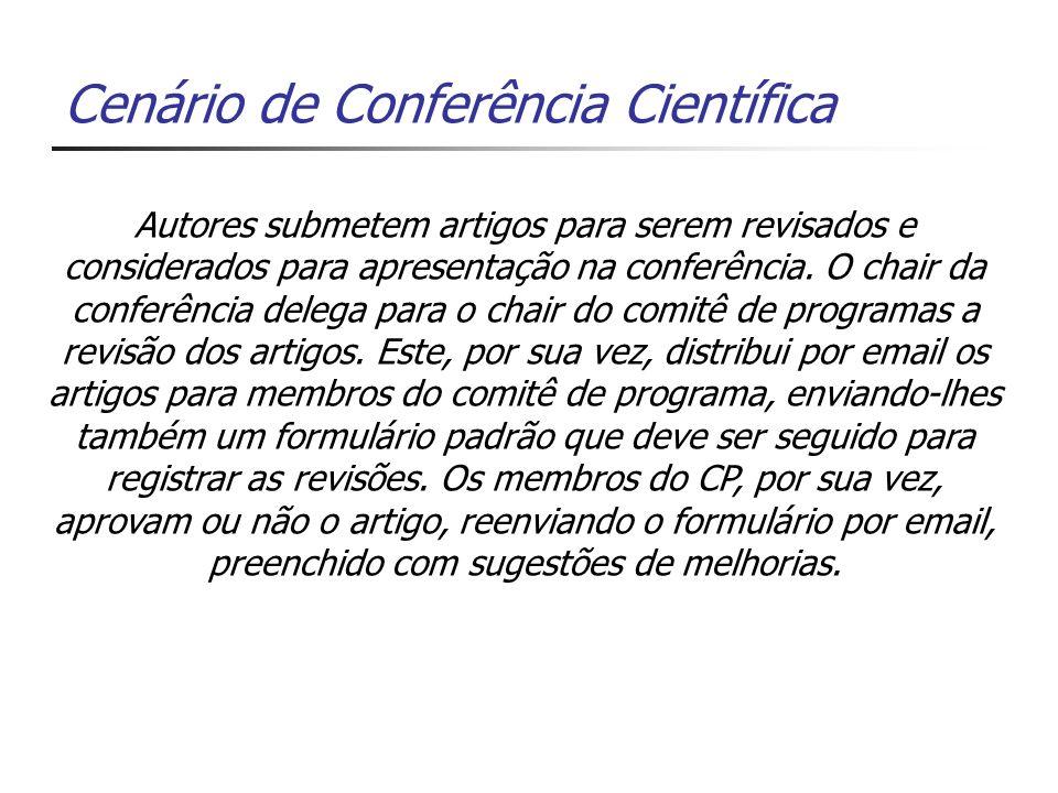 Cenário de Conferência Científica Autores submetem artigos para serem revisados e considerados para apresentação na conferência.