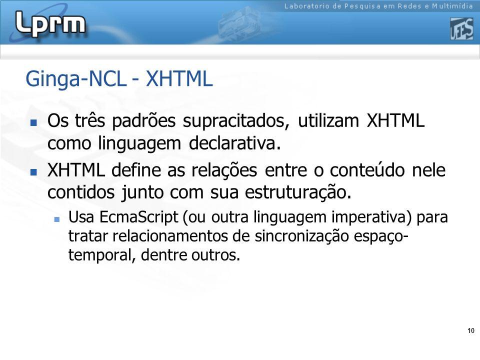 10 Ginga-NCL - XHTML Os três padrões supracitados, utilizam XHTML como linguagem declarativa. XHTML define as relações entre o conteúdo nele contidos