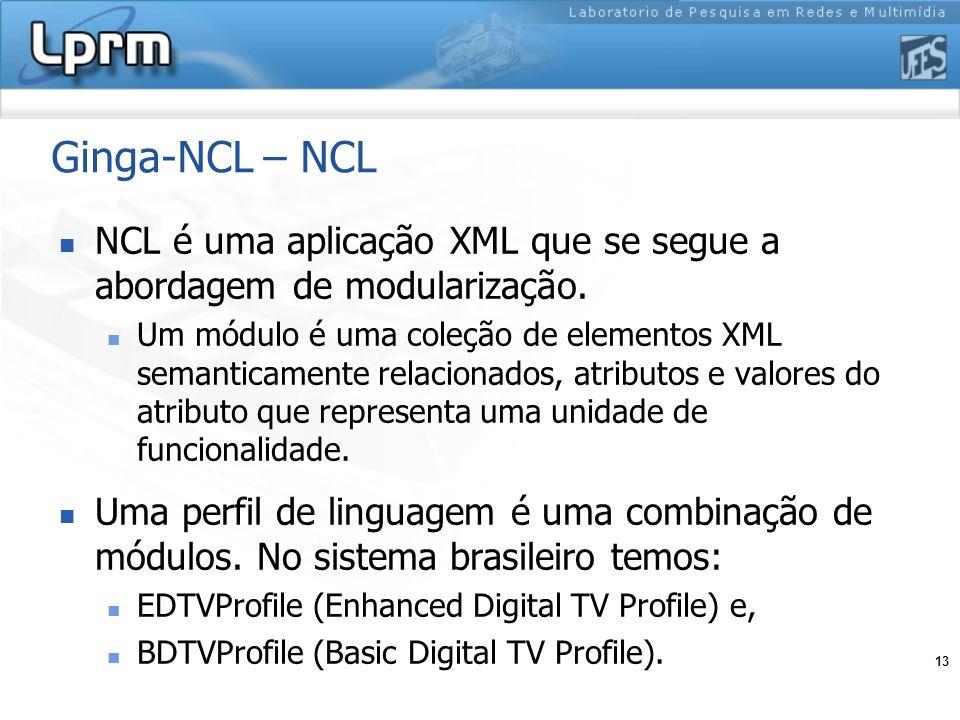 13 Ginga-NCL – NCL NCL é uma aplicação XML que se segue a abordagem de modularização. Um módulo é uma coleção de elementos XML semanticamente relacion