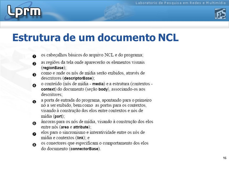 16 Estrutura de um documento NCL
