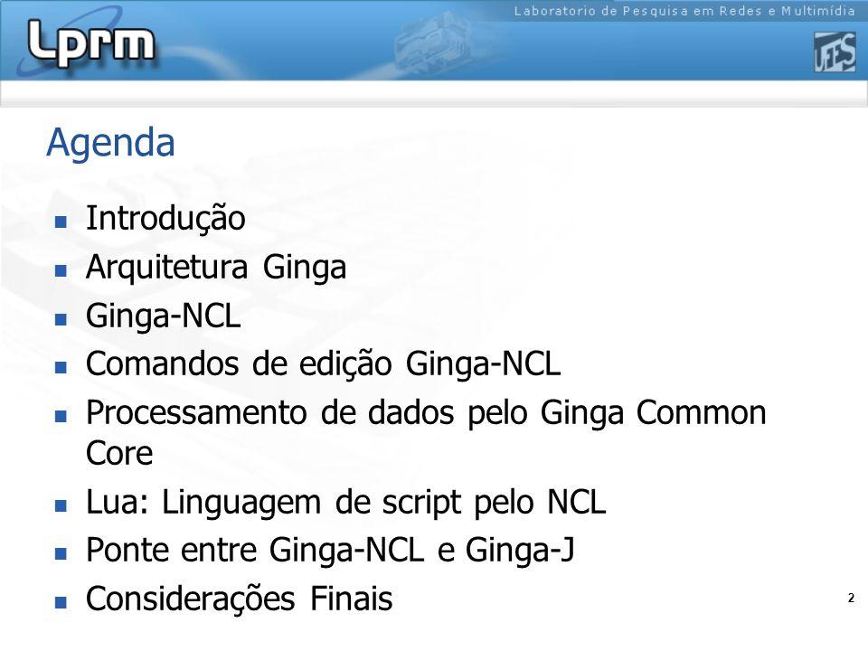 2 Agenda Introdução Arquitetura Ginga Ginga-NCL Comandos de edição Ginga-NCL Processamento de dados pelo Ginga Common Core Lua: Linguagem de script pe