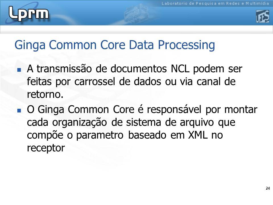 24 Ginga Common Core Data Processing A transmissão de documentos NCL podem ser feitas por carrossel de dados ou via canal de retorno. O Ginga Common C