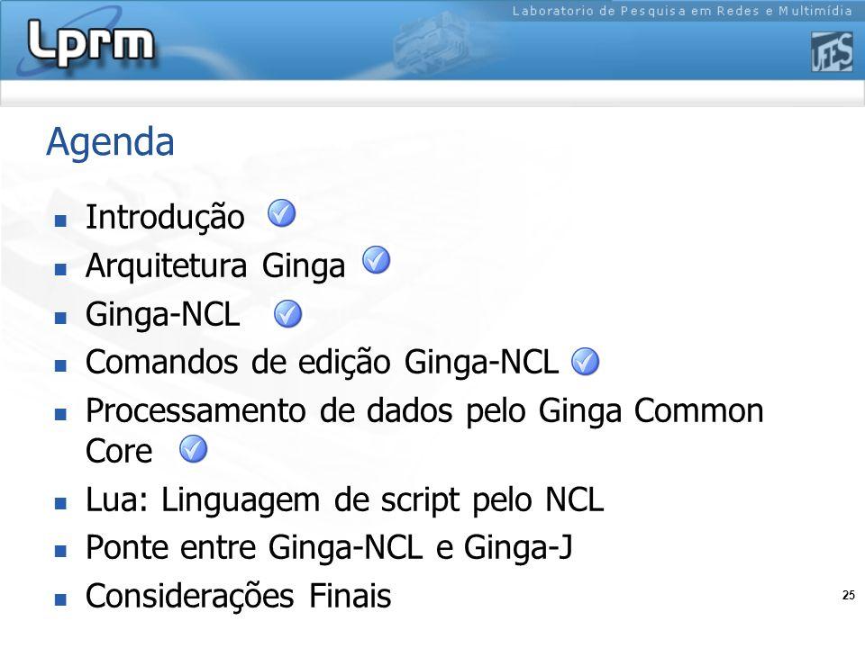 25 Agenda Introdução Arquitetura Ginga Ginga-NCL Comandos de edição Ginga-NCL Processamento de dados pelo Ginga Common Core Lua: Linguagem de script p