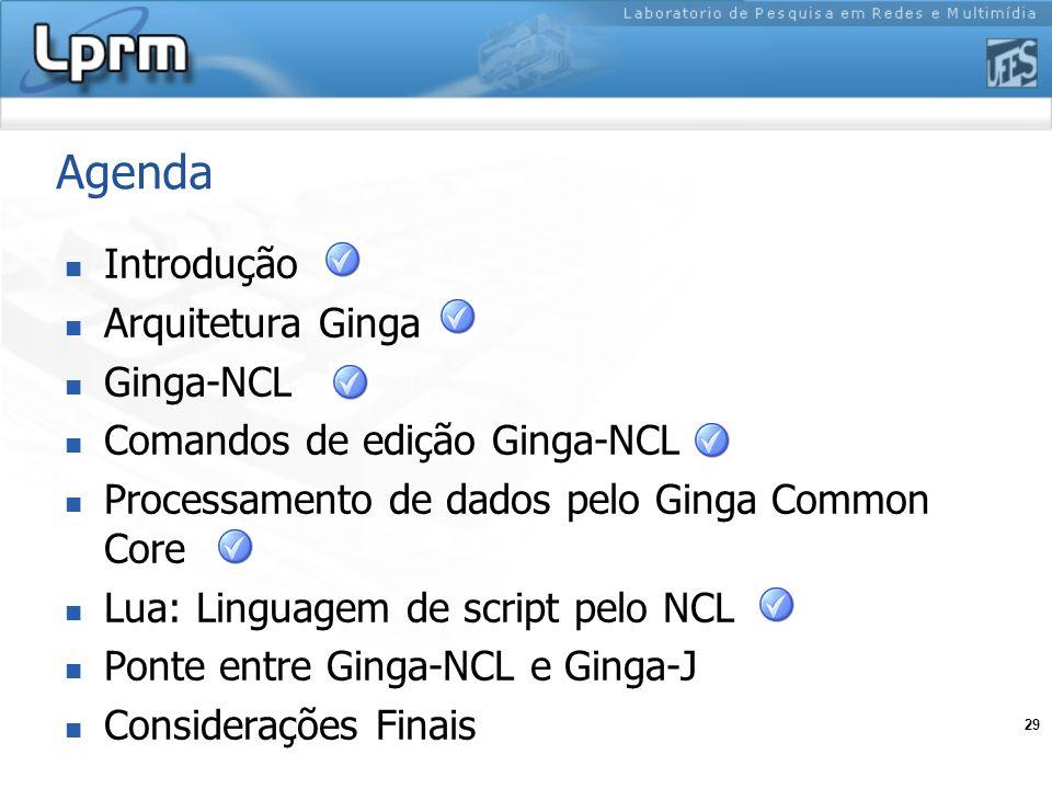 29 Agenda Introdução Arquitetura Ginga Ginga-NCL Comandos de edição Ginga-NCL Processamento de dados pelo Ginga Common Core Lua: Linguagem de script p